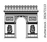 french arc de triomphe in black ... | Shutterstock .eps vector #282672113
