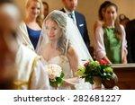 elegant stylish bride under... | Shutterstock . vector #282681227