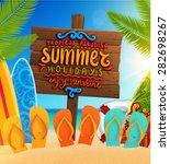 ocean and beach sand. wooden... | Shutterstock .eps vector #282698267