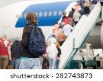 young woman passenger in 20s...   Shutterstock . vector #282743873