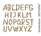 hand drawn wooden alphabet. the ... | Shutterstock .eps vector #282763967