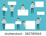 set of businessman with blank... | Shutterstock .eps vector #282785063