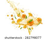 oranges with juice pouring... | Shutterstock . vector #282798077