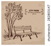 bench in the city park. hand... | Shutterstock .eps vector #282803147