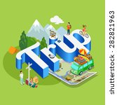 trip modern lifestyle flat 3d... | Shutterstock .eps vector #282821963