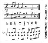 music notes and icons set. ... | Shutterstock . vector #282885743