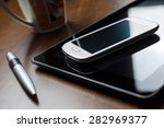 business background with tablet ... | Shutterstock . vector #282969377