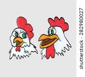 funny cartoon chicken | Shutterstock .eps vector #282980027