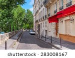 narrow cobblestone street among ... | Shutterstock . vector #283008167