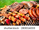 assorted delicious grilled meat ...