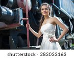 portrait of happy wedding bride ... | Shutterstock . vector #283033163