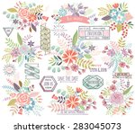 romantic floral hand drawn set. ... | Shutterstock .eps vector #283045073