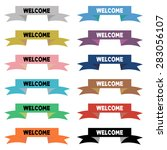 welcome on ribbon   colorful... | Shutterstock .eps vector #283056107