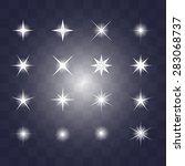 set of vector glowing light... | Shutterstock .eps vector #283068737