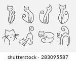 set of cartoon cats vector...