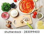 cooking pizza on wooden table ... | Shutterstock . vector #283099403