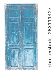 Old Blue Wooden Door Isolated...