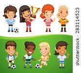cartoon women soccer players... | Shutterstock .eps vector #283114523