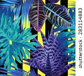blue exotic plants pattern ... | Shutterstock .eps vector #283114883
