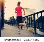 runner athlete running on iron...   Shutterstock . vector #283144157