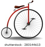 Red Retro Bicycle On A White...