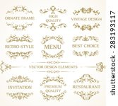 Vector set of vintage elegant decorative ornamental page decoration frames borders calligraphic design elements for invitation, congratulation, greeting card, menu, certificate