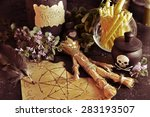 voodoo theme with love potion... | Shutterstock . vector #283193507