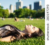 Young Woman Relaxing Central Park - Fine Art prints