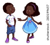 two very cute african american... | Shutterstock .eps vector #283199657