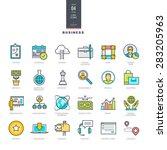 set of line modern color icons... | Shutterstock .eps vector #283205963