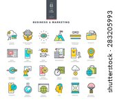 set of line modern color icons... | Shutterstock .eps vector #283205993