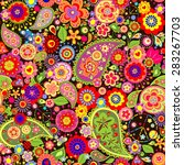 colorful floral wallpaper with...   Shutterstock .eps vector #283267703