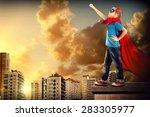 little boy pretending to be a... | Shutterstock . vector #283305977