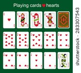 set of playing cards on a green ... | Shutterstock .eps vector #283307543