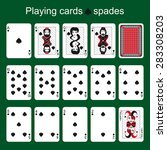 set of playing cards on a green ... | Shutterstock .eps vector #283308203