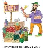 vendor of locally grown produce ... | Shutterstock .eps vector #283311077
