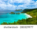 Small photo of Aerial view of picturesque Trunk bay on St John island, US Virgin Islands considered by many as most beautiful beach in Caribbean
