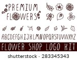 logo kit with handsketched... | Shutterstock .eps vector #283345343