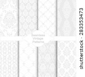 set of eight seamless damask... | Shutterstock .eps vector #283353473