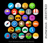 flat round icon set 3 travel | Shutterstock .eps vector #283357823