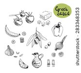 greek salad ingredients  set of ... | Shutterstock .eps vector #283368353