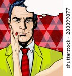 pop art illustration man with... | Shutterstock . vector #283399877
