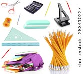 bright school stationery ... | Shutterstock . vector #283410227