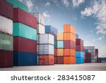a pile of container in freight... | Shutterstock . vector #283415087