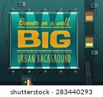 night city. banner on a wall.... | Shutterstock .eps vector #283440293