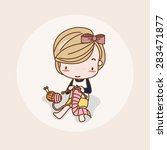 knitting clothes girl   lady  ... | Shutterstock .eps vector #283471877