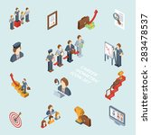 career isometric set with 3d cv ... | Shutterstock .eps vector #283478537