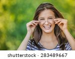 beautiful woman with glasses... | Shutterstock . vector #283489667