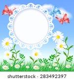 spring meadow with butterflies  ... | Shutterstock .eps vector #283492397