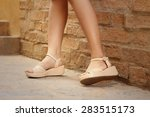 woman wearing brown shoes... | Shutterstock . vector #283515173